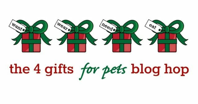 4 Gifts for Pets Blog Hop - 1 thing they want, 1 thing they need, 1 thing they wear, 1 thing they eat.